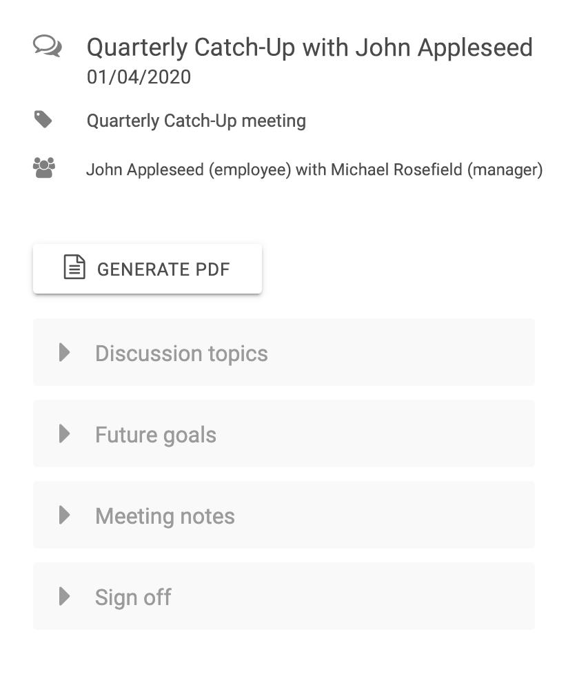 1 to 1 meetings
